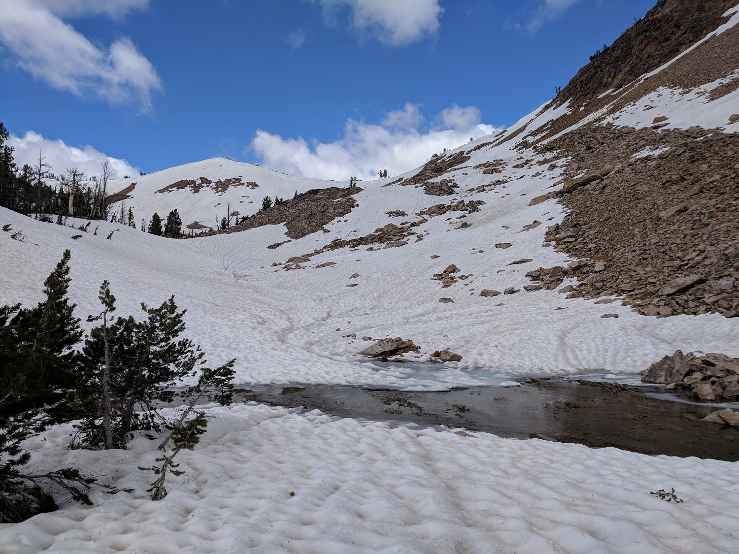 Snowmelt pool above Edith Lake, near junction to Sand Mountain Pass