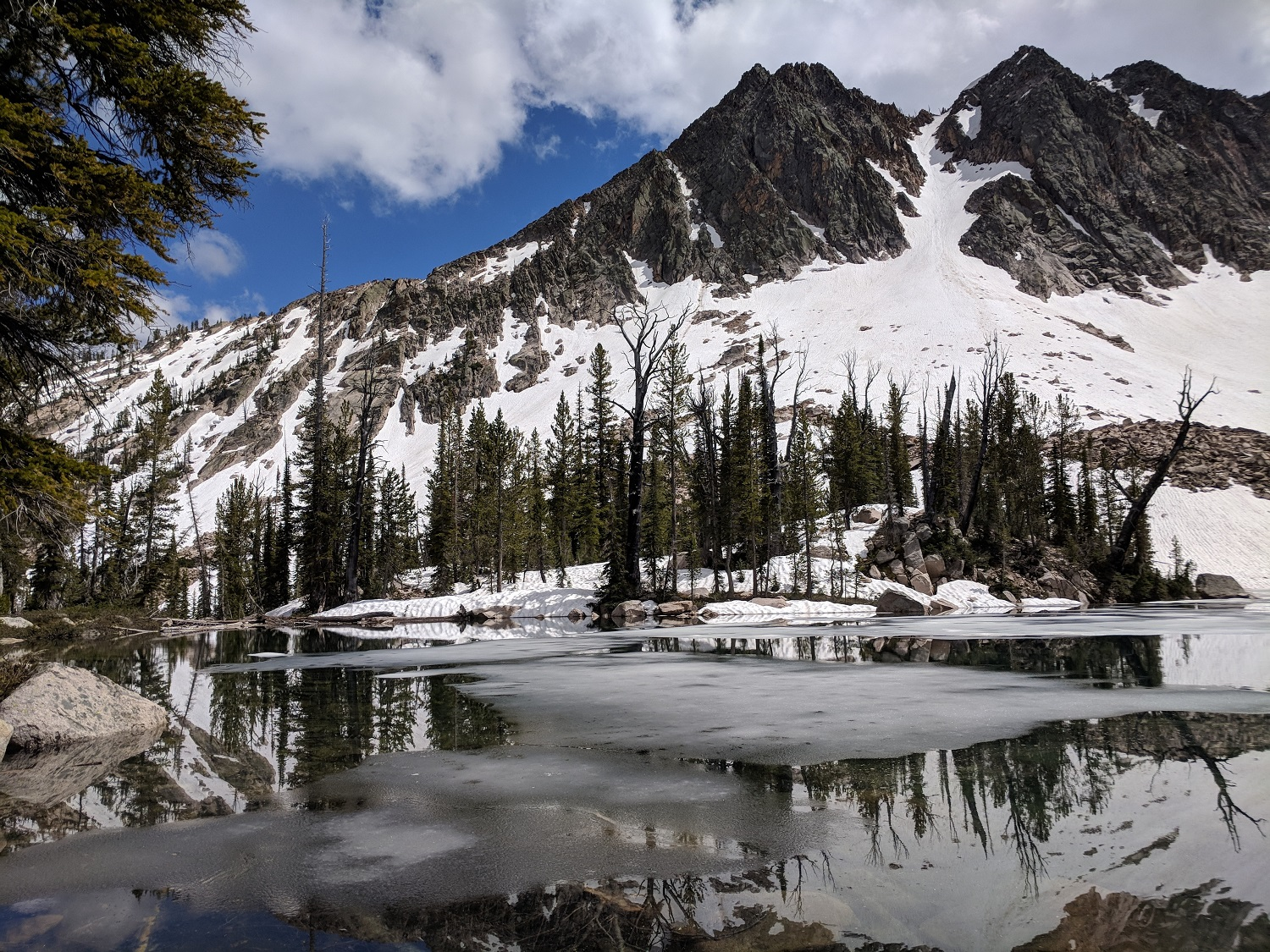 Just an icy unnamed lake near 8700' in the Sawtooth Wilderness. NBD.