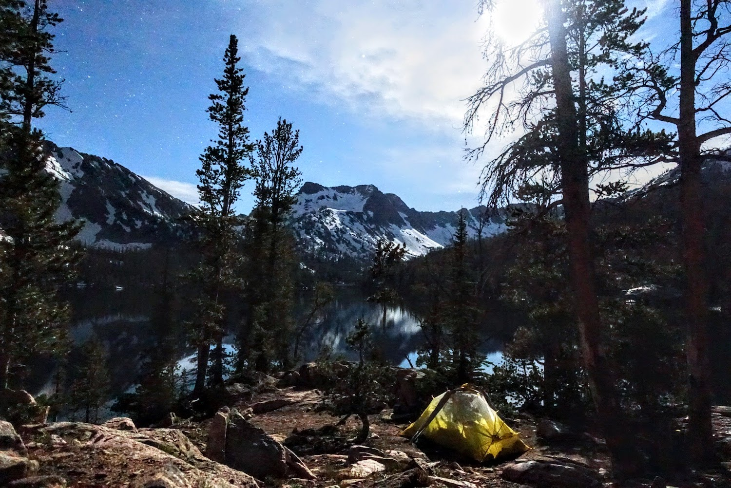 Our campsite at Imogene Lake, under the stars and moon.