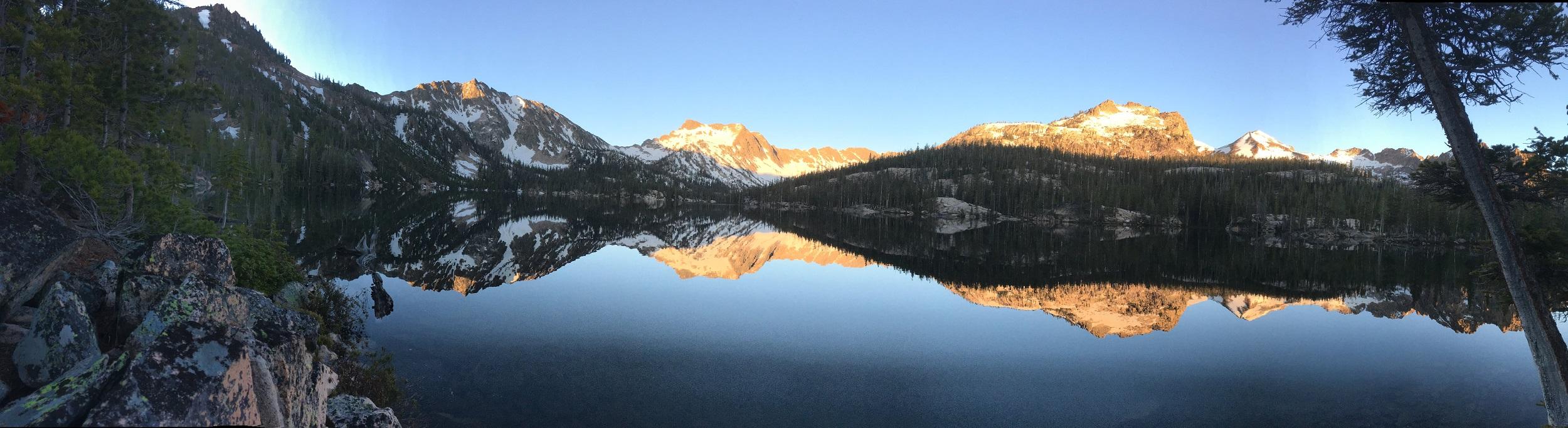 Morning golden hour, crisp and clear, at Imogene Lake.