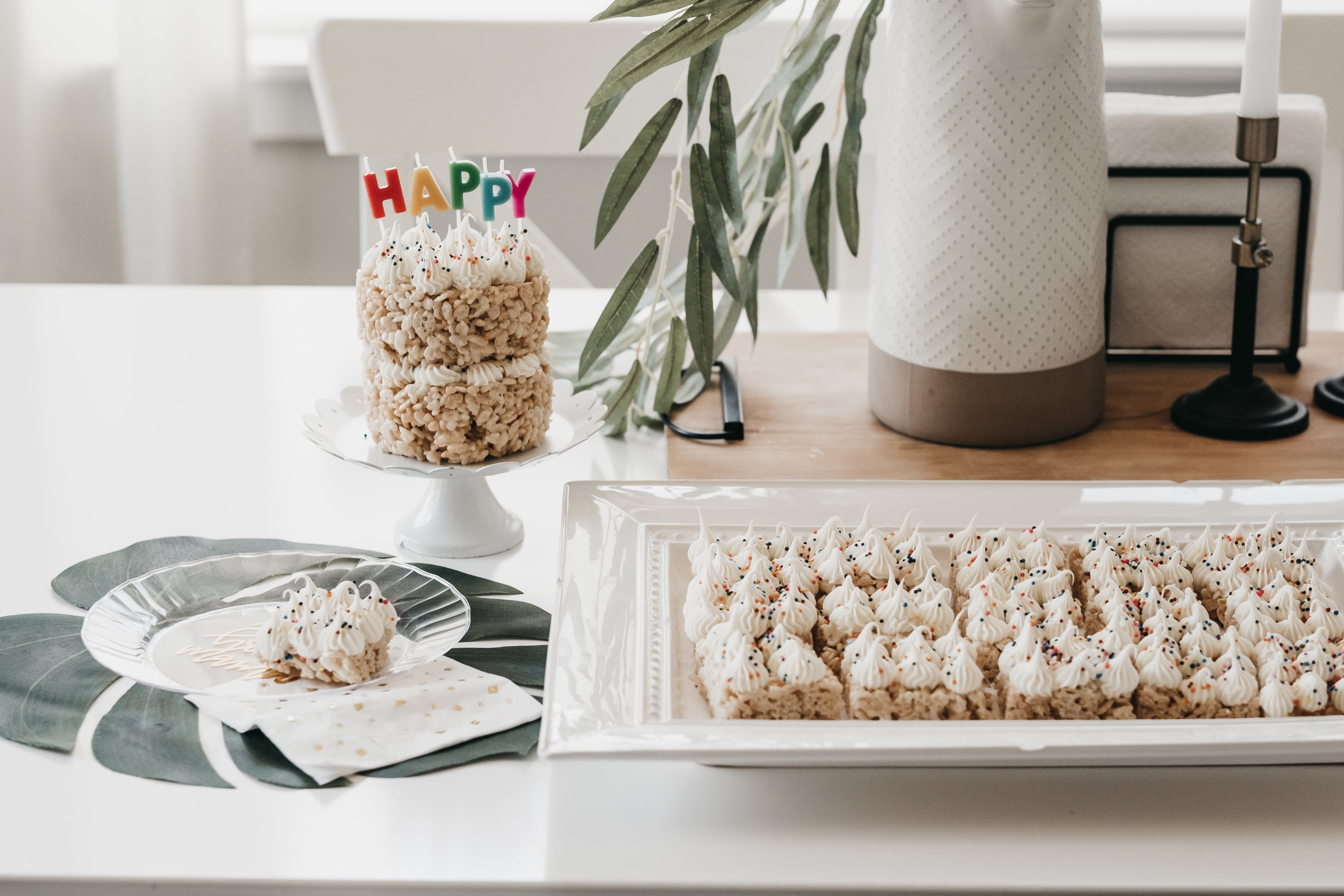Vegan Rice Krispie Birthday Cake