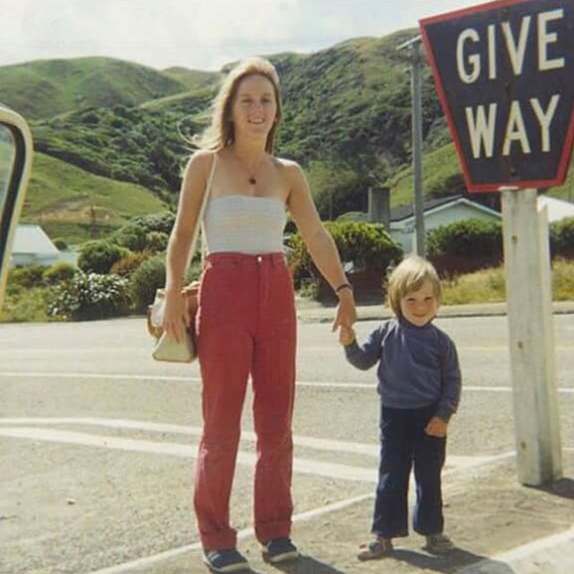 Me and mum - I'm thinking around 1982, top of Pa Rd, Pukerua Bay - Happy Mother's Day Ma! (nice high pants) x #pukeruabaybeach #pukeruabay #mothersday #80s