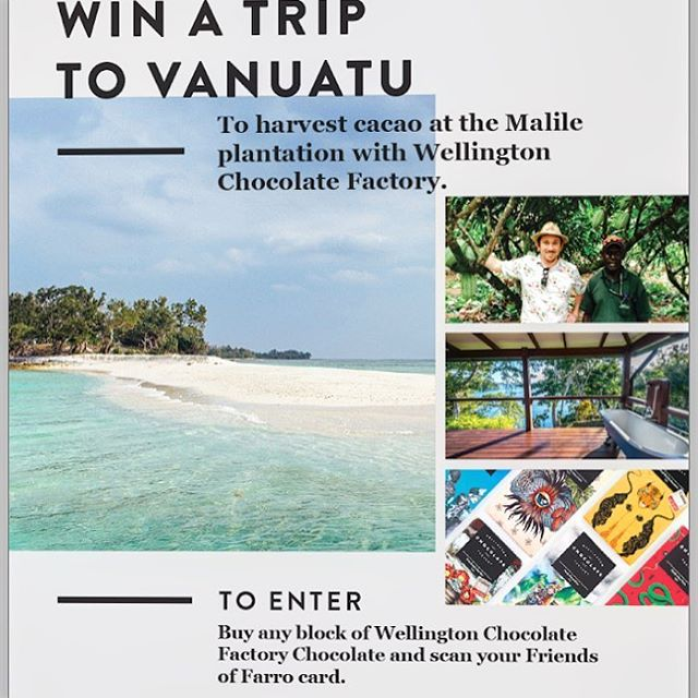 Till Wednesday if you grab a chocolate bar from @farrofresh you can win a crazy good trip to Vanuatu to pick cacao and have an amazing foodie experience with us (with plenty of time to chill and do what you wanna). Who's in??? #vanuatu #beantobar #singleorigin #wellingtonchocolatefactory #foodadventures