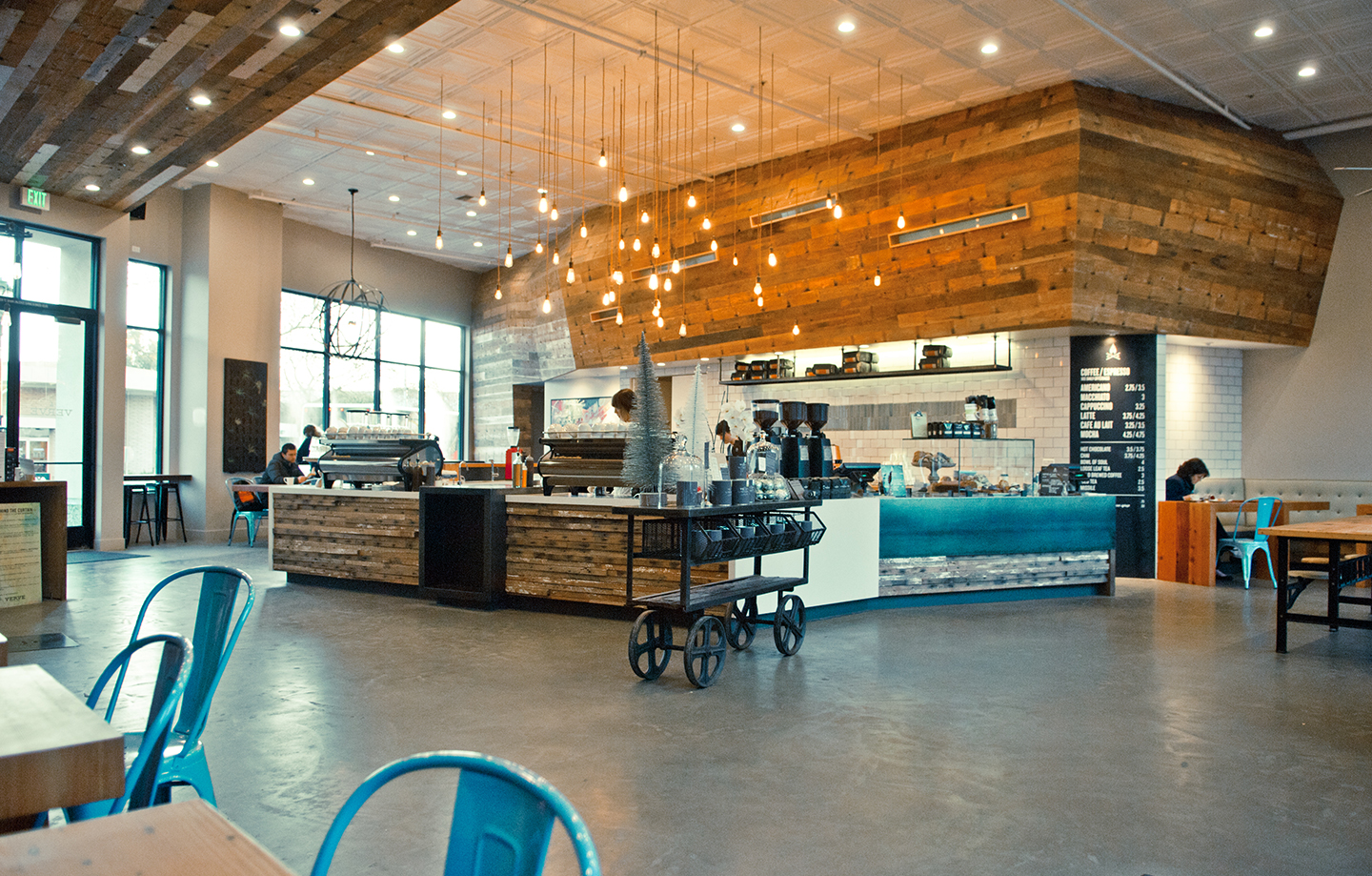 Verve Coffee Roasters Interior Lighting and Service Area