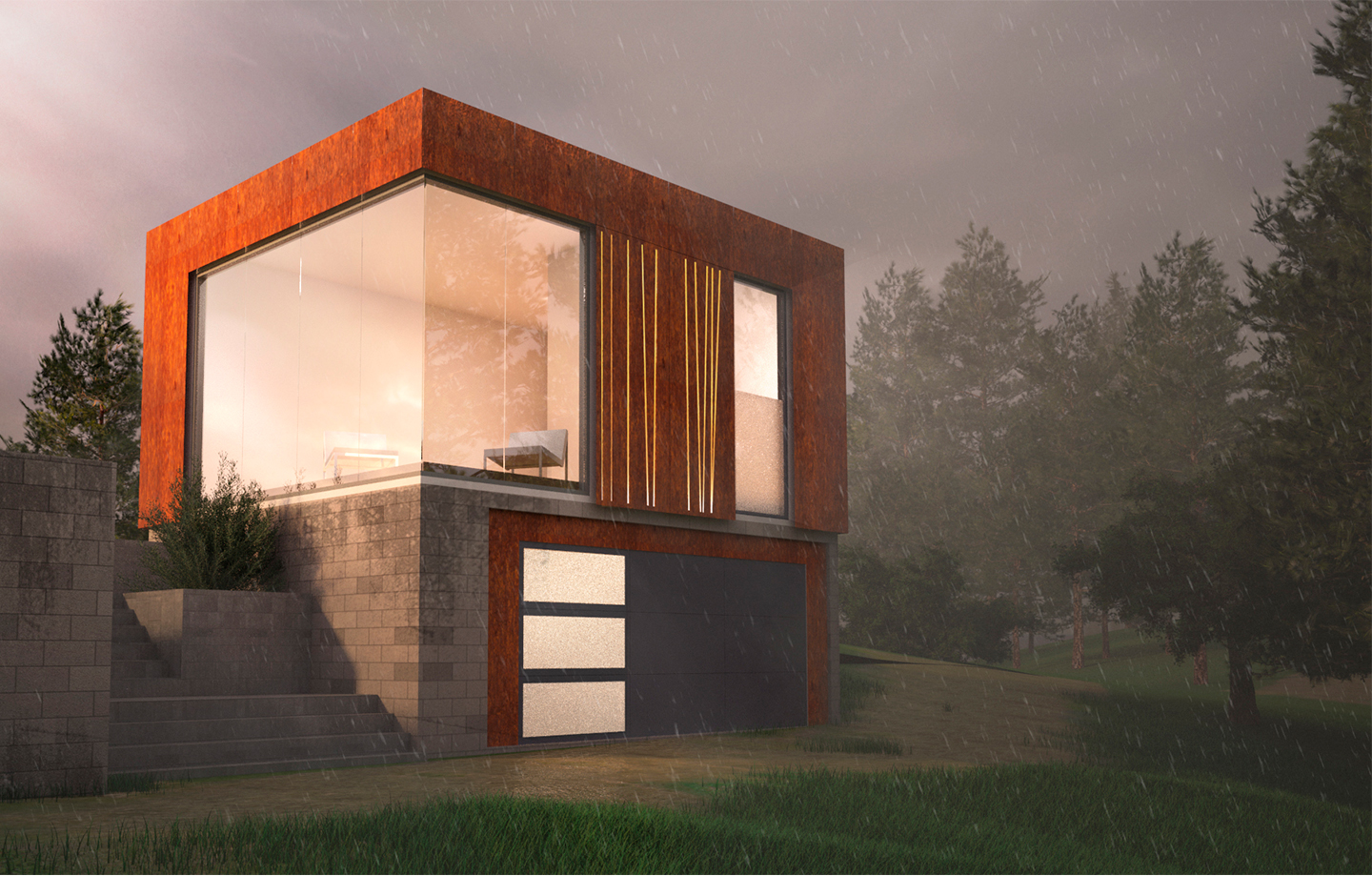 The Guest Cube - Steel, Glass and Brick Exterior - Los Gatos, CA