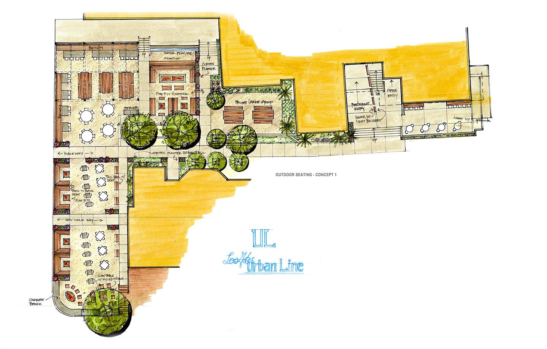 La Hacienda Commercial Los Gatos, CA - Exterior Sketch