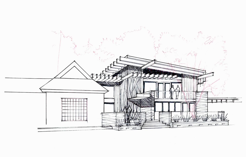 La Hacienda Commercial Los Gatos, CA - Exterior Sketch Concept 1