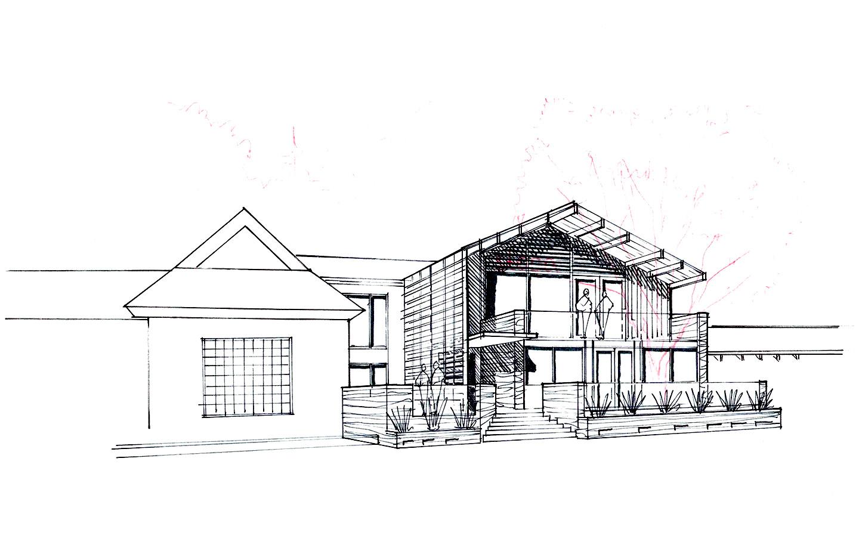 La Hacienda Commercial Los Gatos, CA - Exterior Sketch Concept 2