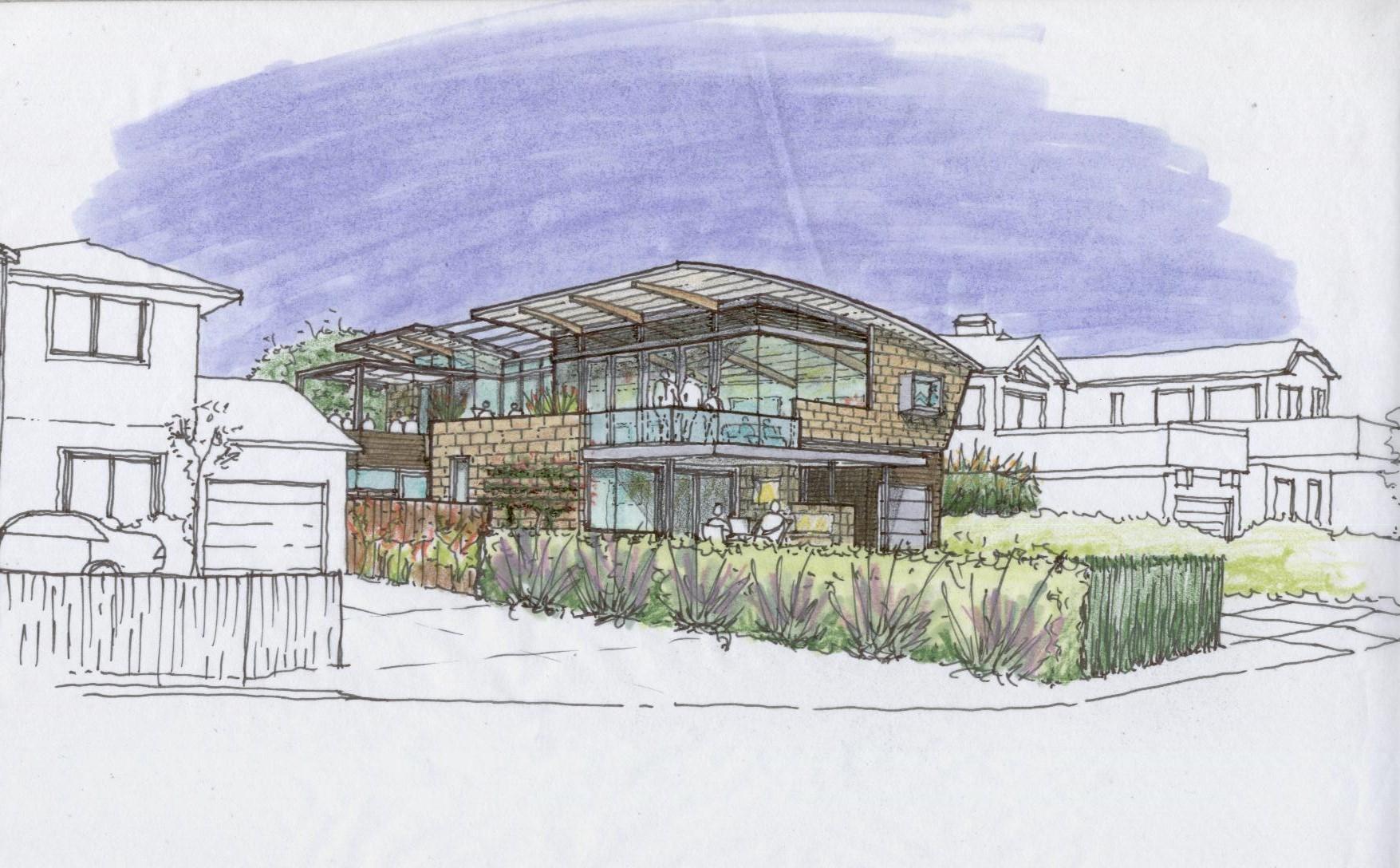 Pleasure Point Residence Sketch - Santa Cruz, CA