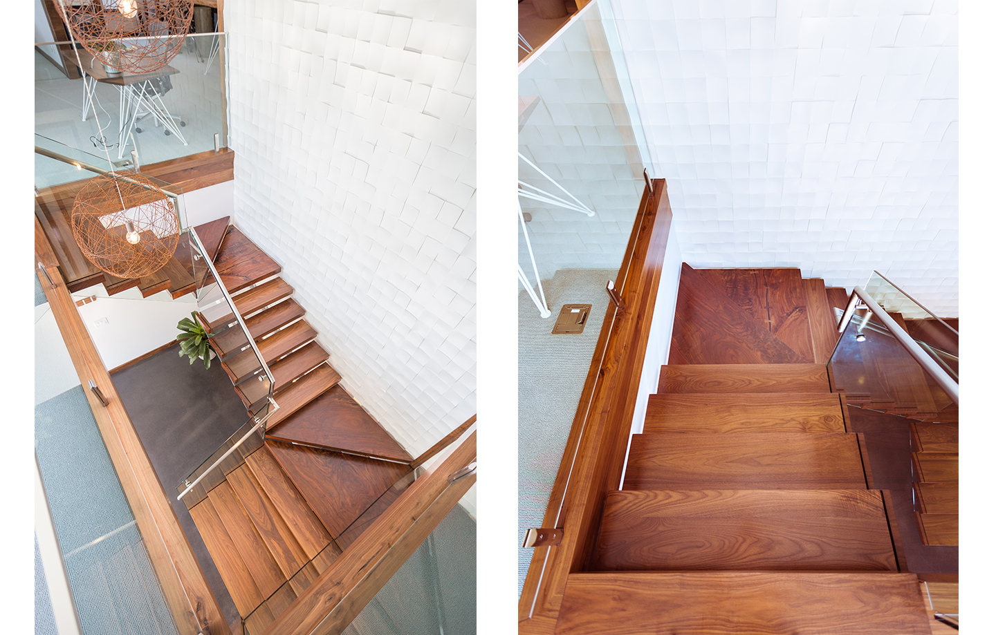 512 Corporate Office Walnut Staircase with Glass Railing