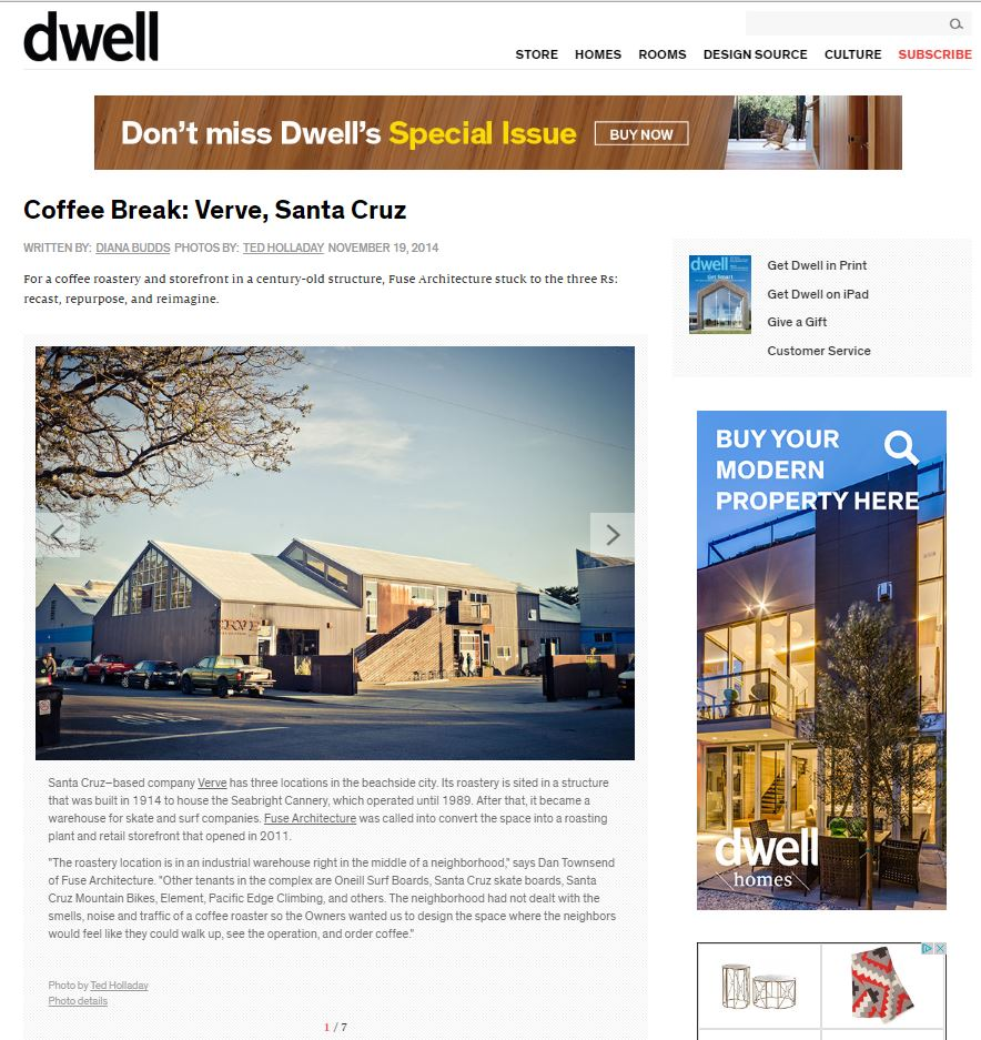 Fuse Architecture Press - Dwell Magazine Blog Post, Verve Coffee Roasters