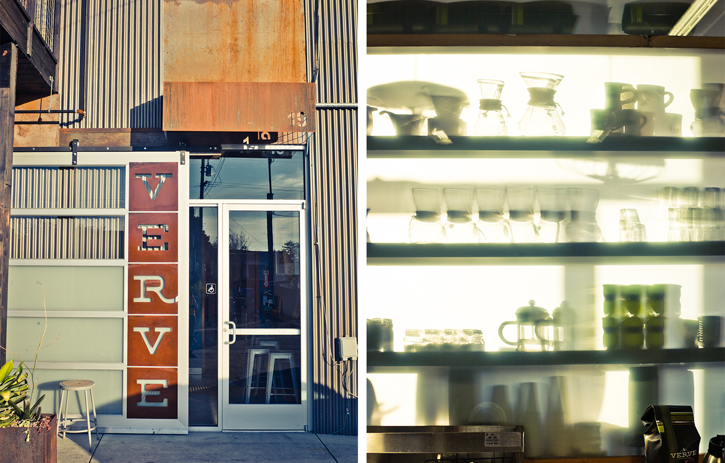 Verve Coffee Roasters Headquarters - Main Entrance and Shelving Display