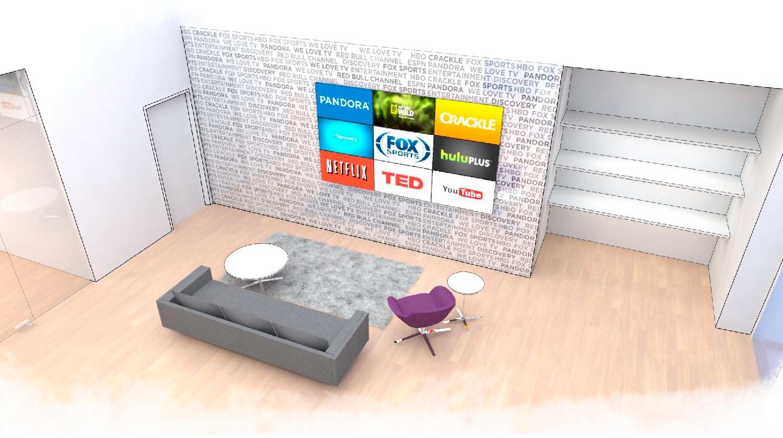 Roku Headquarters Lobby Sketch 1 - Branding Wall