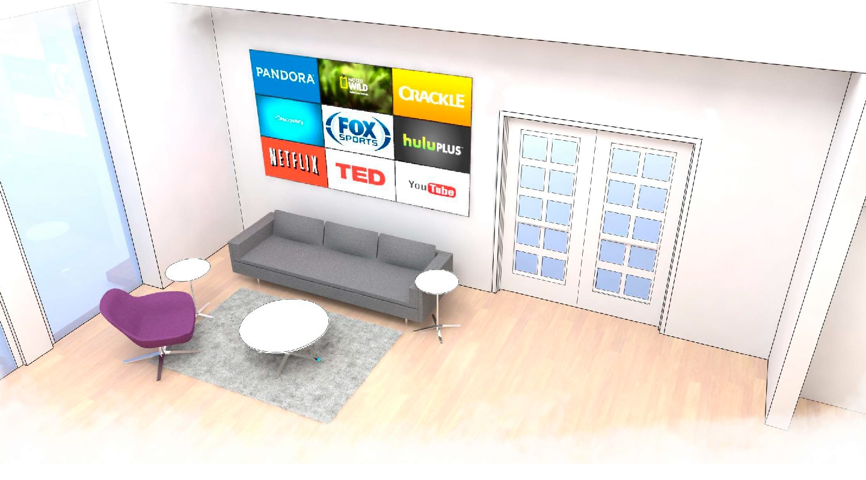 Roku Headquarters Lobby Sketch 2 - Branding Wall