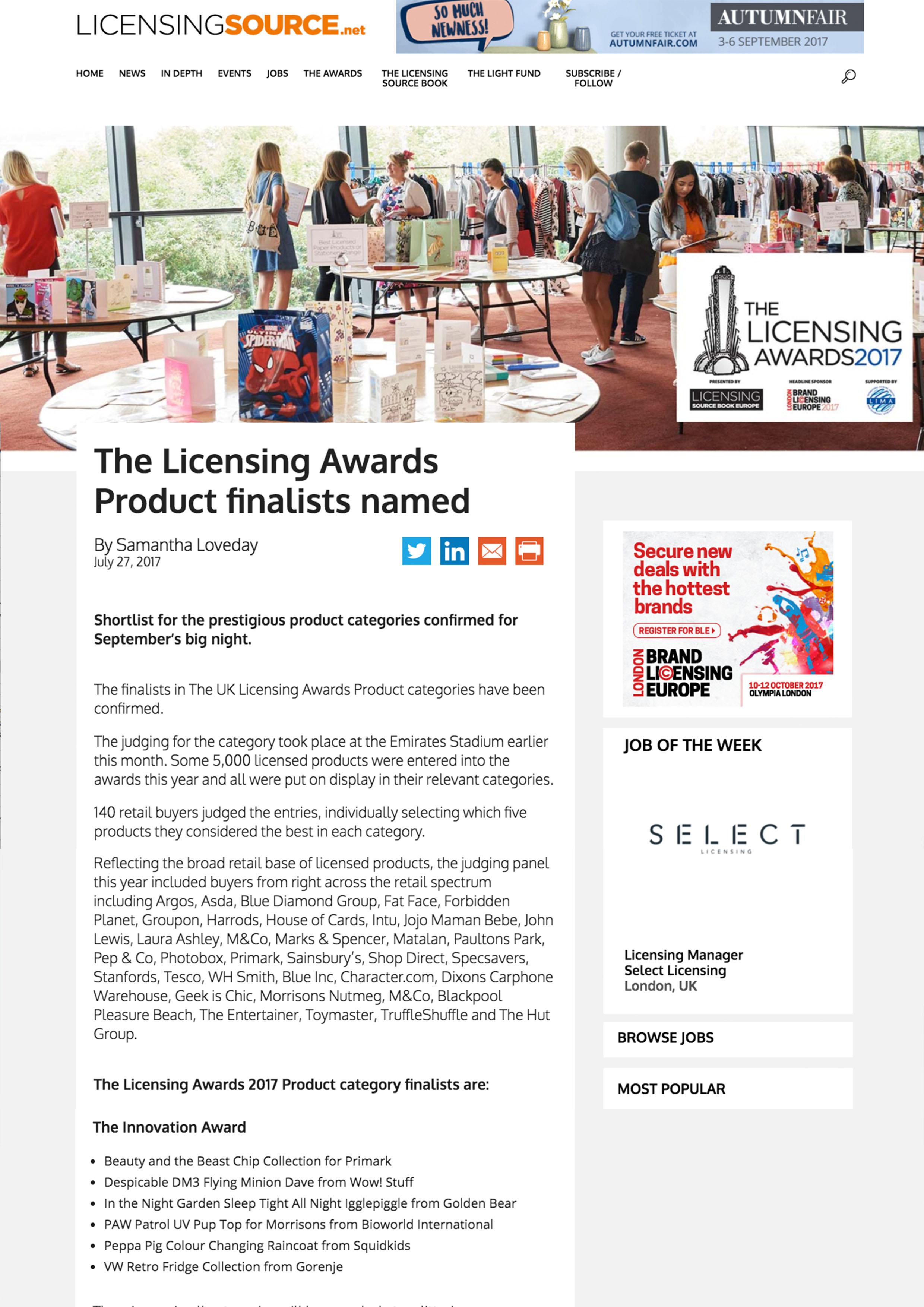 August 2017 UK Licensing Award
