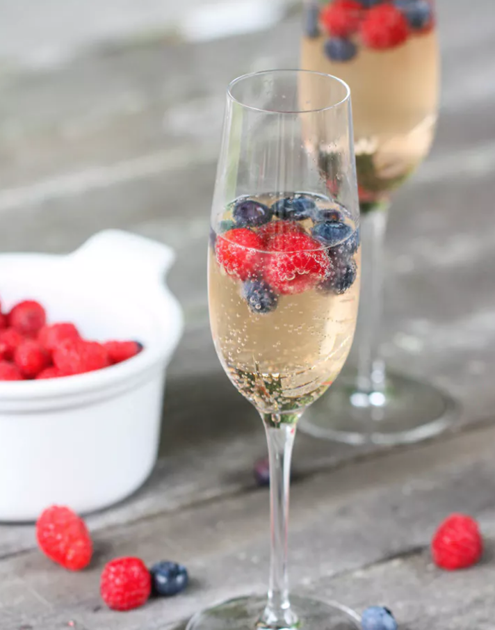 RED, WHITE AND BLUE CHAMPAGNE COCKTAILS -