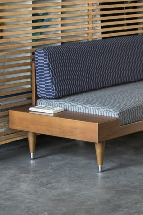 Bi Back Daybed by Kann upholstered with Eleanor Pritchard Fabric
