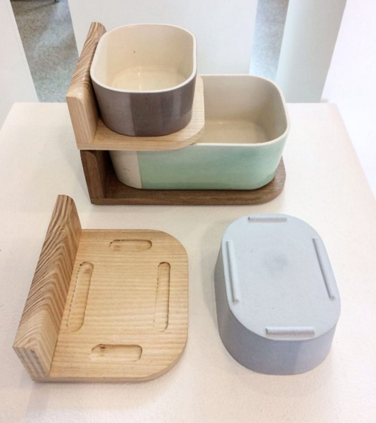 Bookend + Storage, ceramics and wood by Joyce Chang