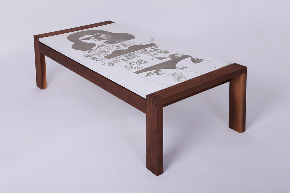 Tattoo Lady table with surface art by Peter Blake, 130 x 56cm 42cm high, American black walnut base, original pieces from £8000 and limited edition reproductions from £3000, www.danaddesign.com (2).jpg