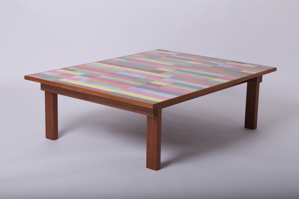 Multicolour rectangles table with surface art by Barry Daniels, 1140 x 870mm x 335mm high, sapele mahogany base, original pieces from £8000 and limited edition reproductions from £3000, www.danaddesign.com (3).JPG