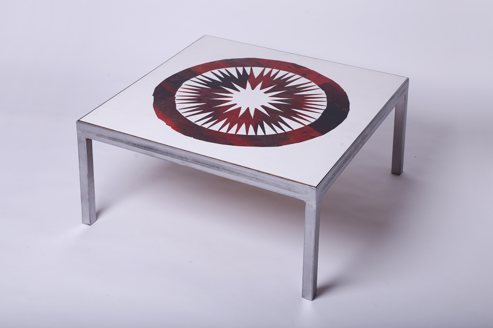 Red circle newspaper table - surface art by Peter Blake