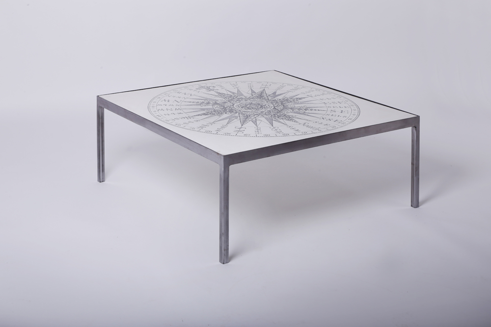 Compass table, 920 mm square 400mm high, steel base