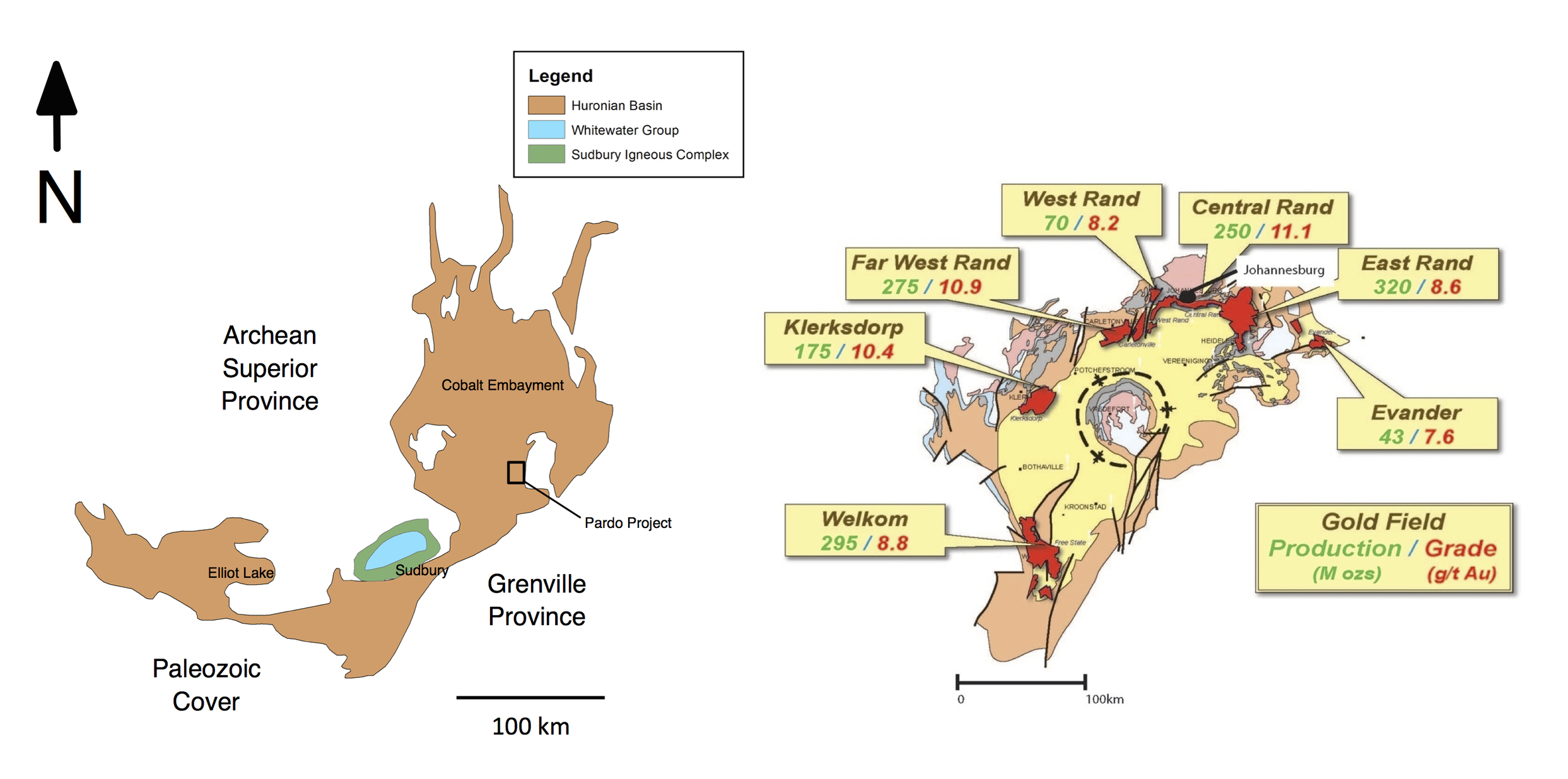 Figure 3. Size comparison between the Huronian (left) and Witwatersrand basin (right).