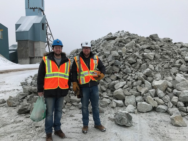 Winston Whymark and Wesley Whymark in front of 1,000 t of Pardo material.