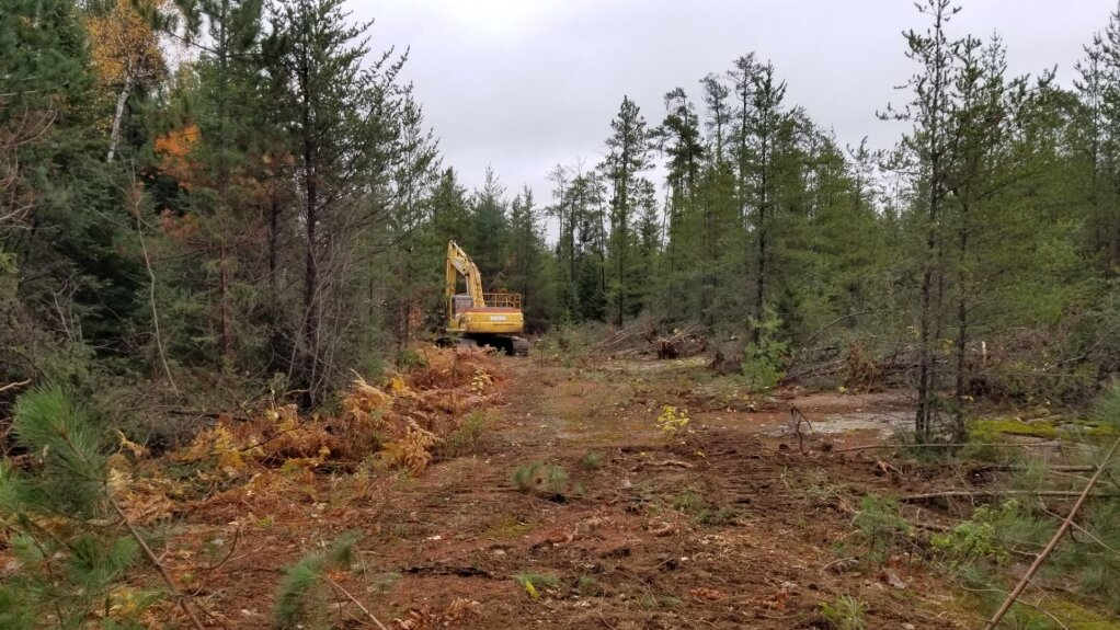 Excavator making its way along an old logging road to access the Laura Creek Dyke.