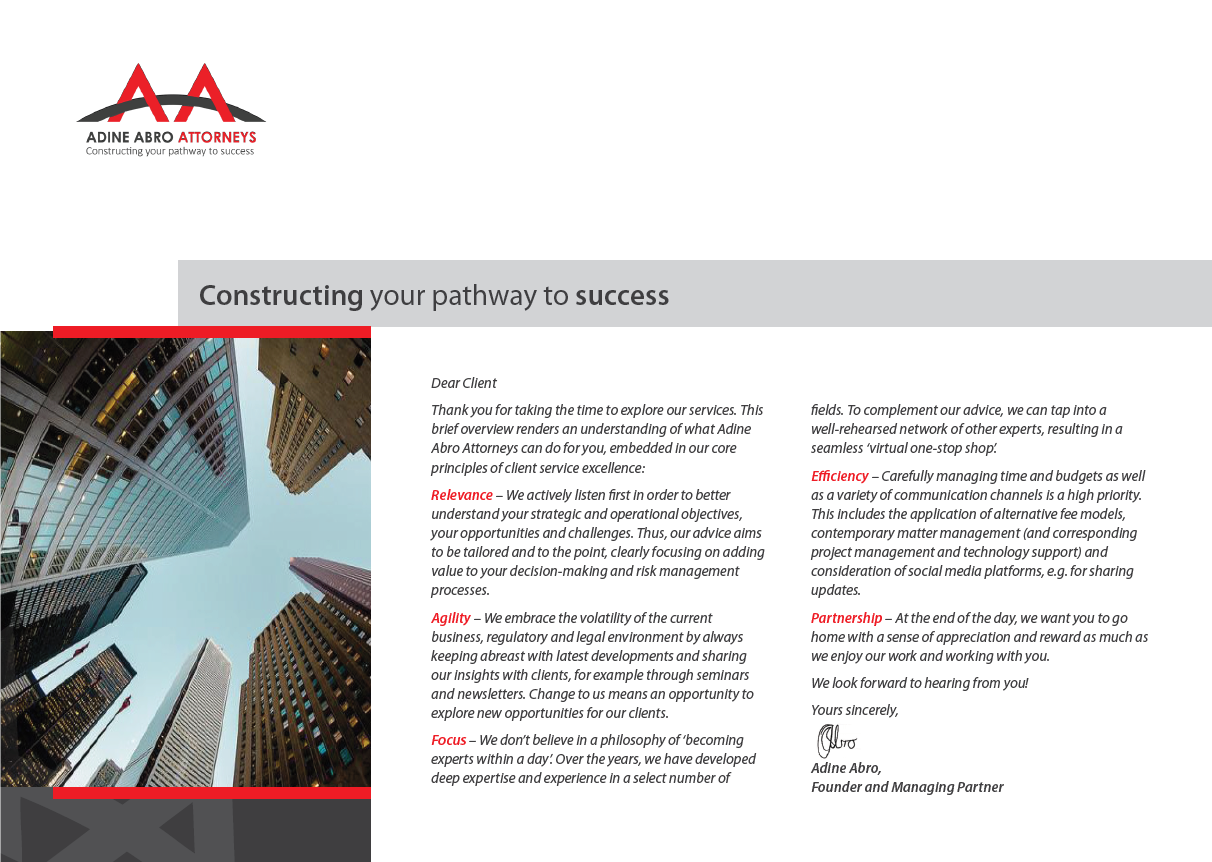 Cover page and executive summary