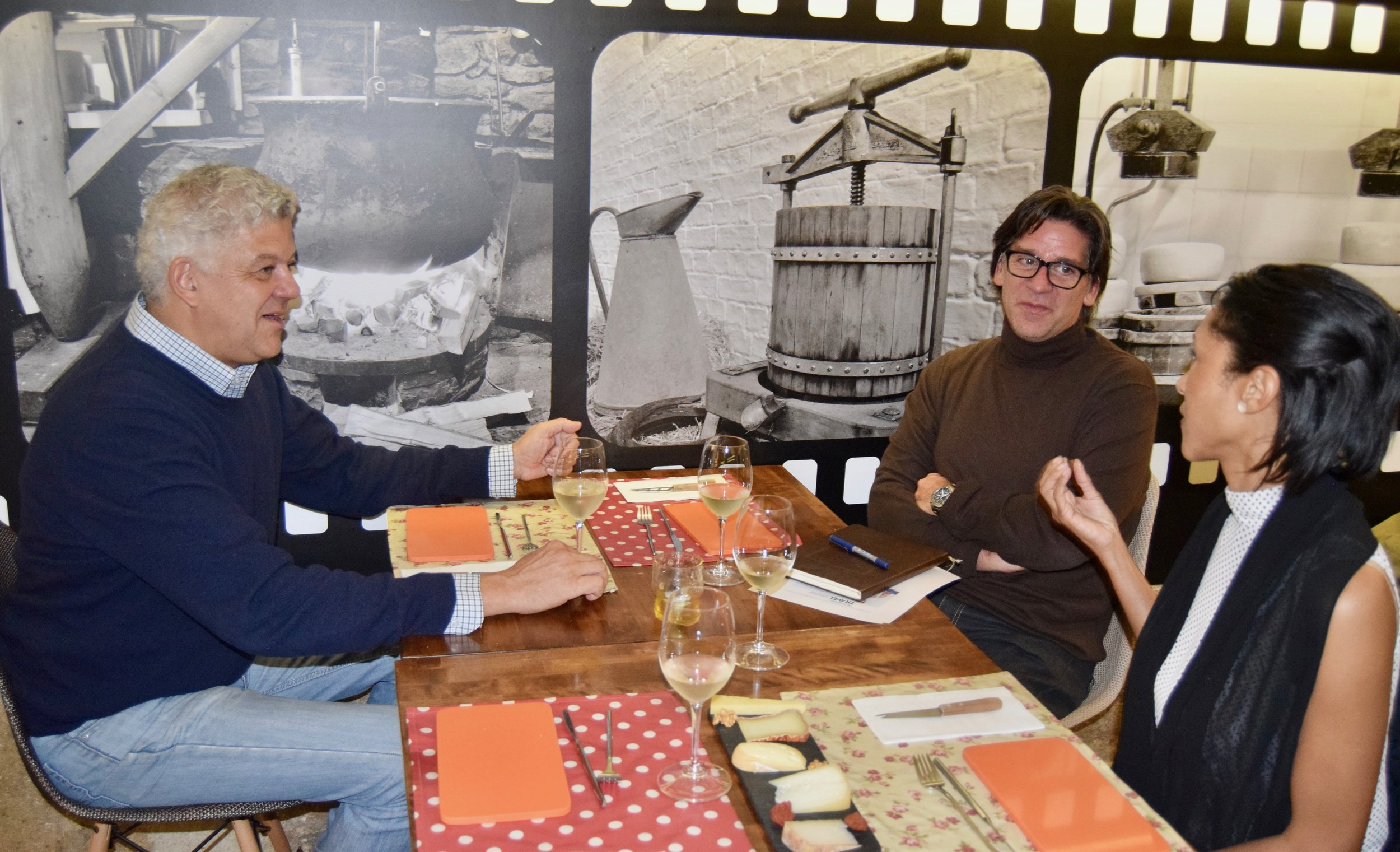 At Queijaria Cheese Shop with owner pedro cardoso and friend andre magalhaes