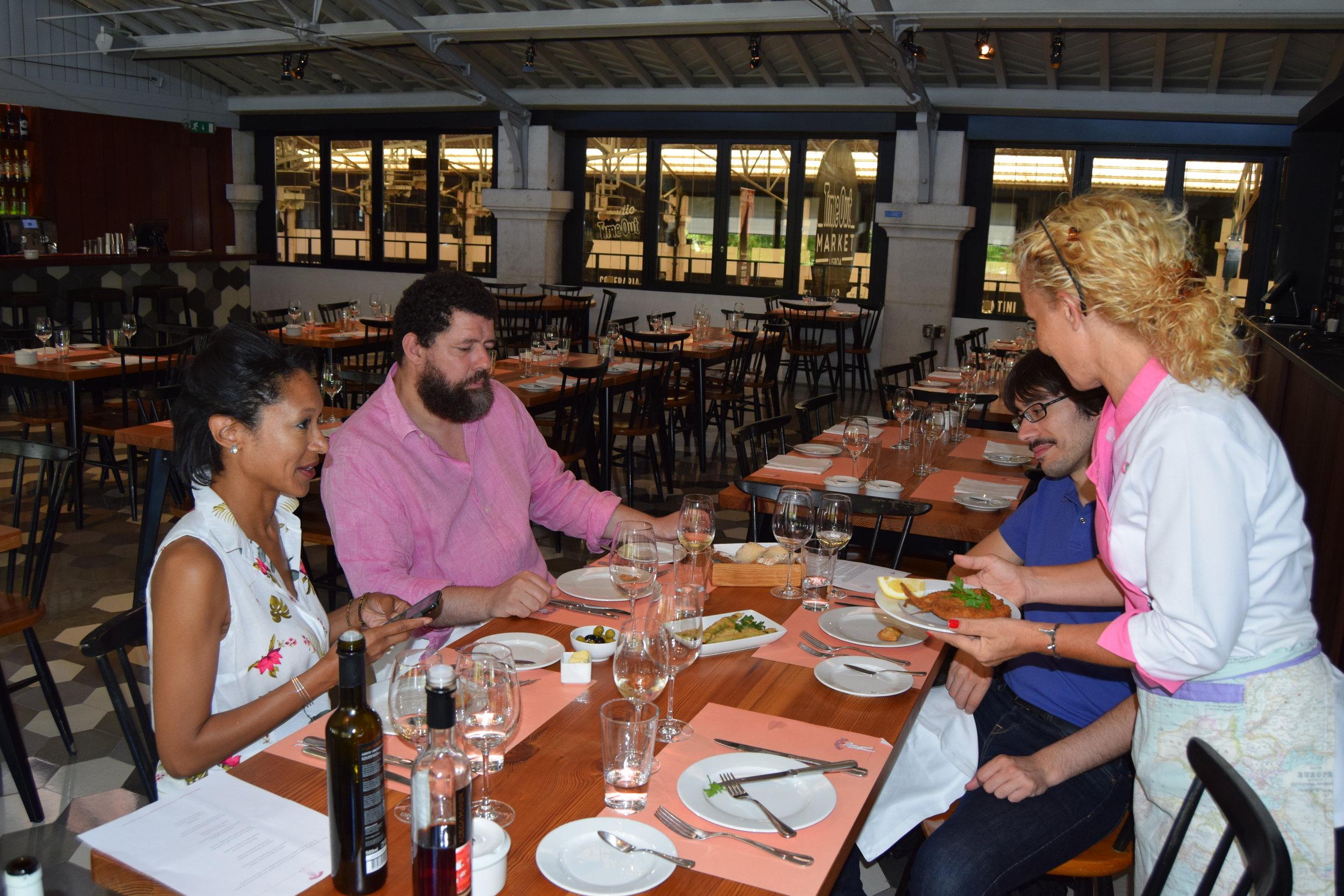 Sheree M. Mitchell, local portuguese gastronome d. andre de quiroga and chef manuela brandao of pap' Açôrda, lisbon