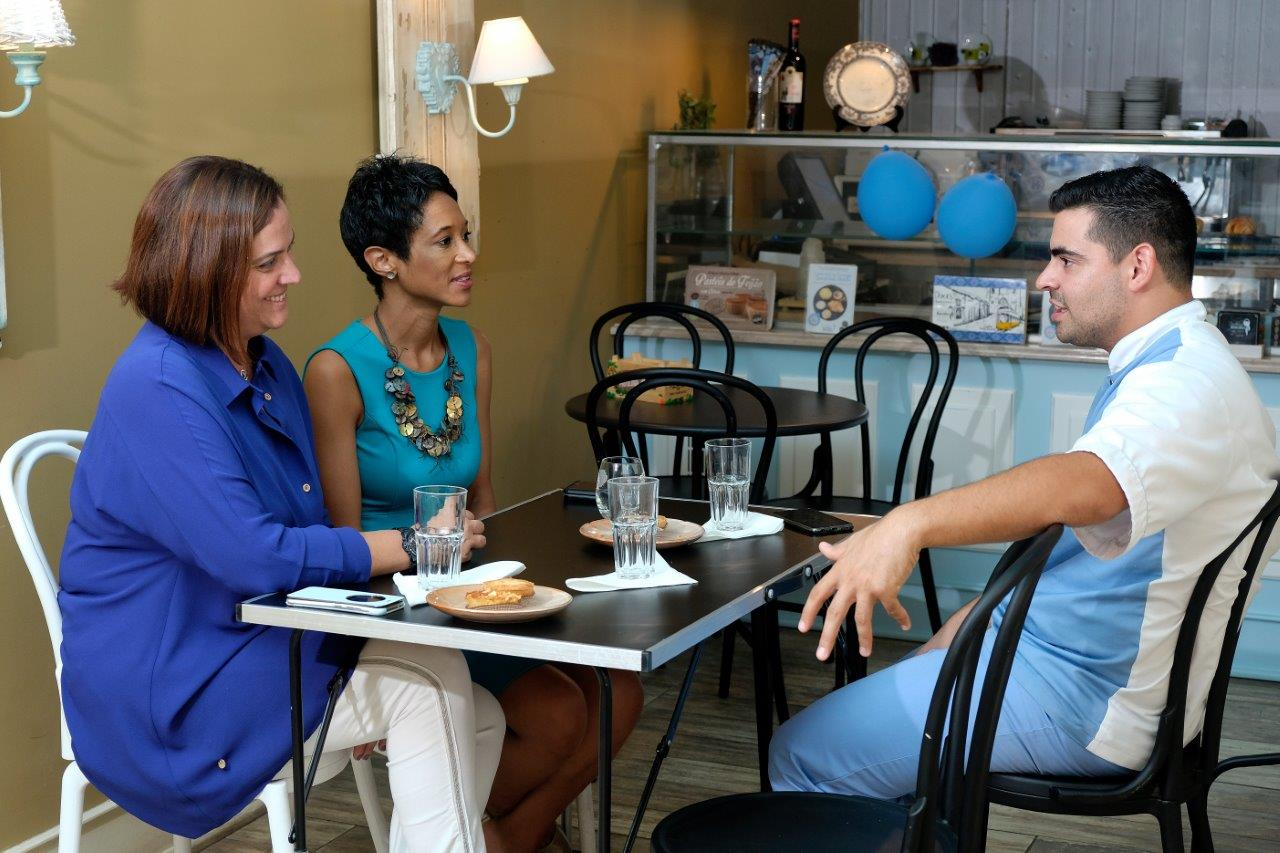 Ana Nogueira (L), Sheree M. Mitchell (C) with Chef João Batalha (R) in    Pastelaria Batalha   , Lisbon, Portugal. Photographer: