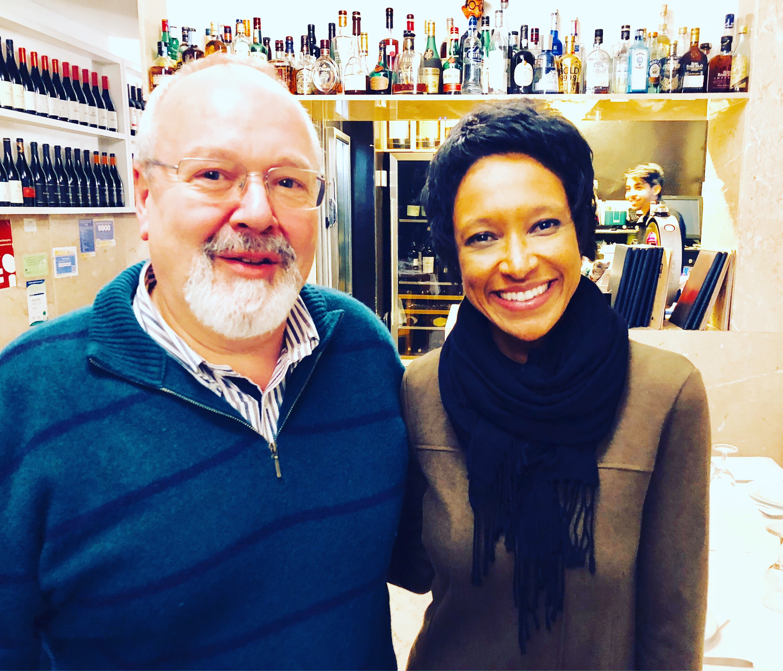 Sheree M. Mitchell with Owner Eugenio Fidalgo of Fidalgo Restaurant, Lisbon.
