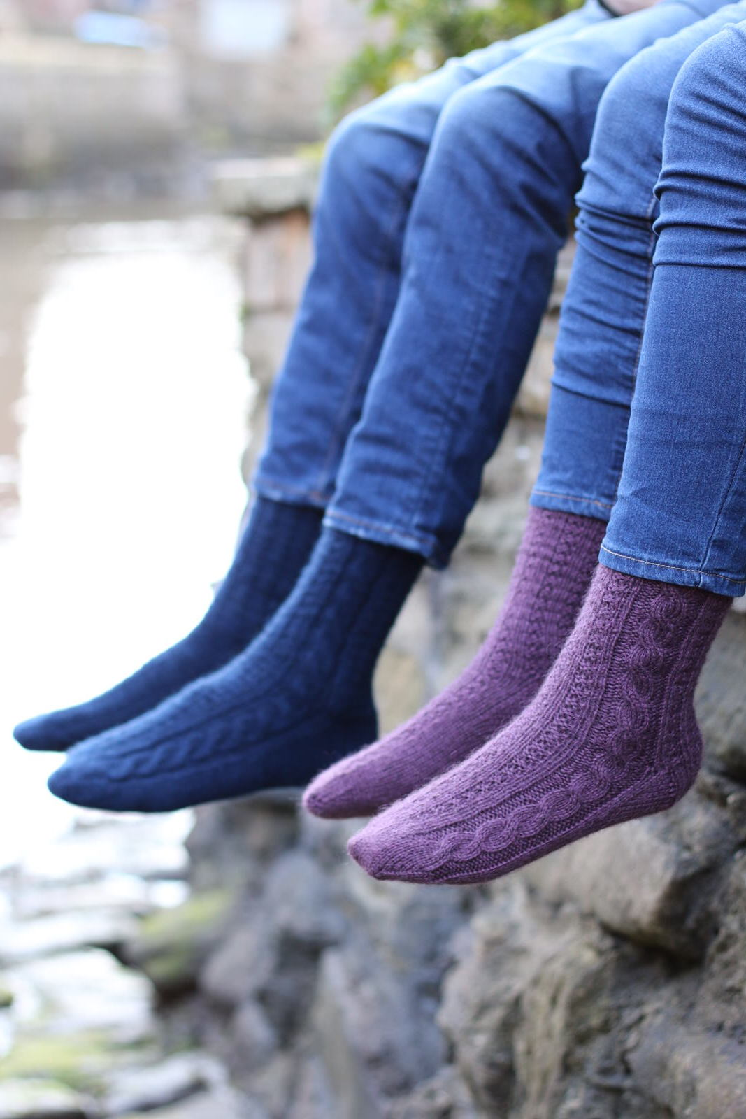 Whitby Socks  The traditional Betty Martin stitch pattern becomes a stretchy fabric, that when worked on small needles is perfect for socks.  Yarn: Dovestone DK (252 yds / 230m in 100g)  Yarn Quantities: 252 - 328 yards (230 - 300 m)  Needles:  3.0mm DPNs  Notions: cable needle, stitch markers  Sizes: S/M (M/L) to fit foot circumference up to 21.5 (25.5) cm/81⁄2 (10)