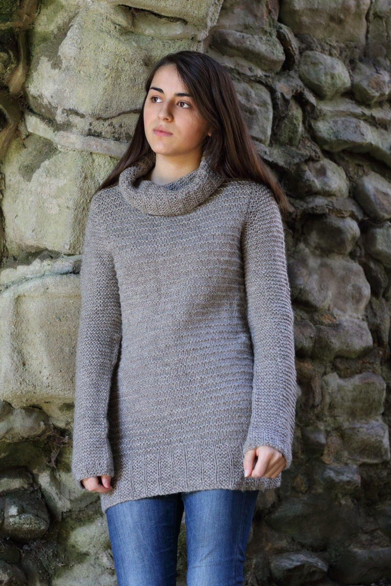 Cara by Gudrun Johnston  This sweater is worked bottom up in the round, separating at the underarms to work the front and back flat. Shoulders are joined with a Three Needle Cast Off and stitches are then picked up around the armhole to work the sleeve. The sleeve cap is shaped using short rows.   Yarn: Baa Ram Ewe's Dovestone Natural Aran (170m in 100g)  Yarn Quantities: 1075 - 1900 yards (983 - 1737 m)   Needles:  6.5mm circulars in 40, 60 and 80cm lengths plus DPNs, 5.5mm x 60cm circular  Notions:  Stitch markers