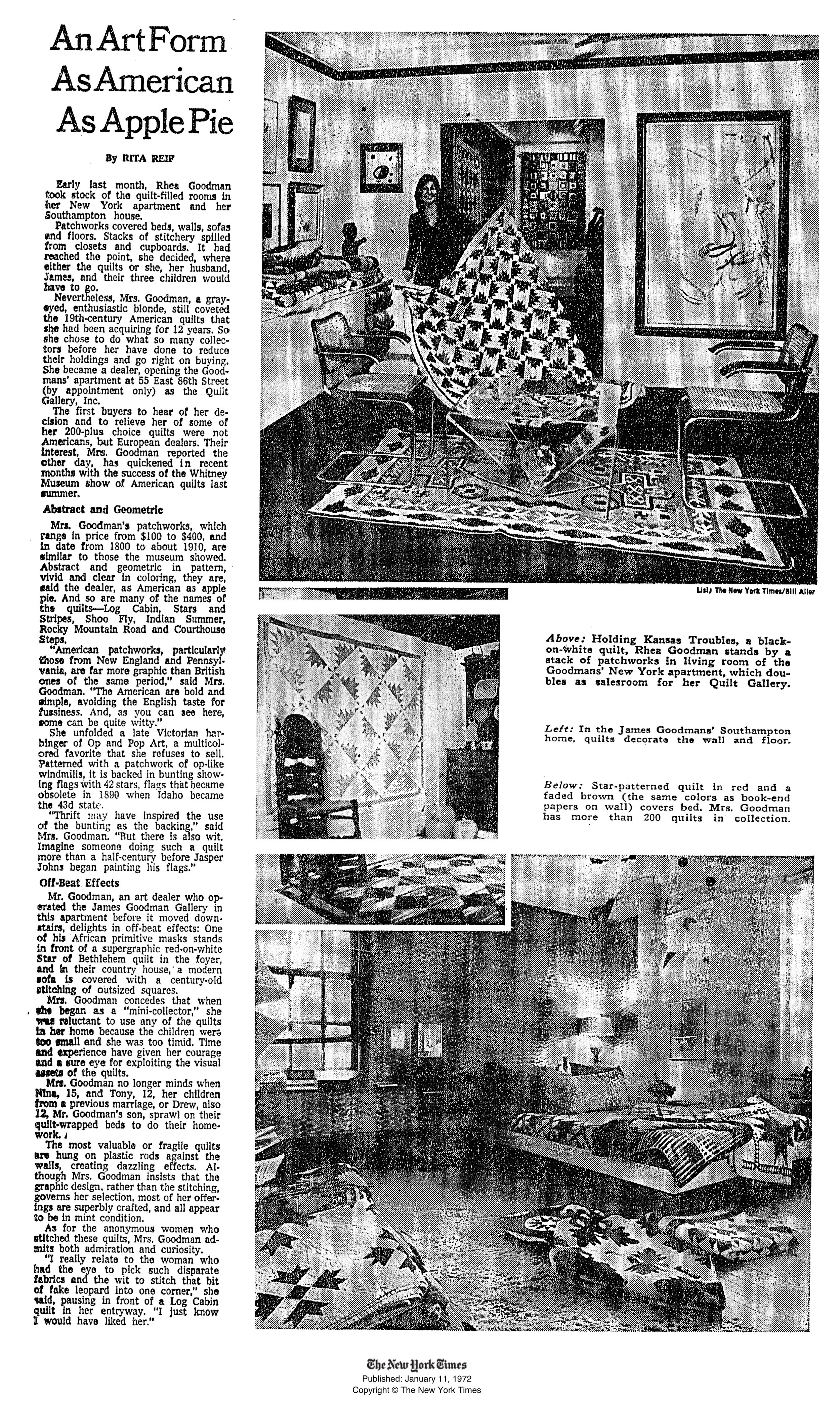 New York Times Article about Quilt Gallery INC., January 11, 1972.