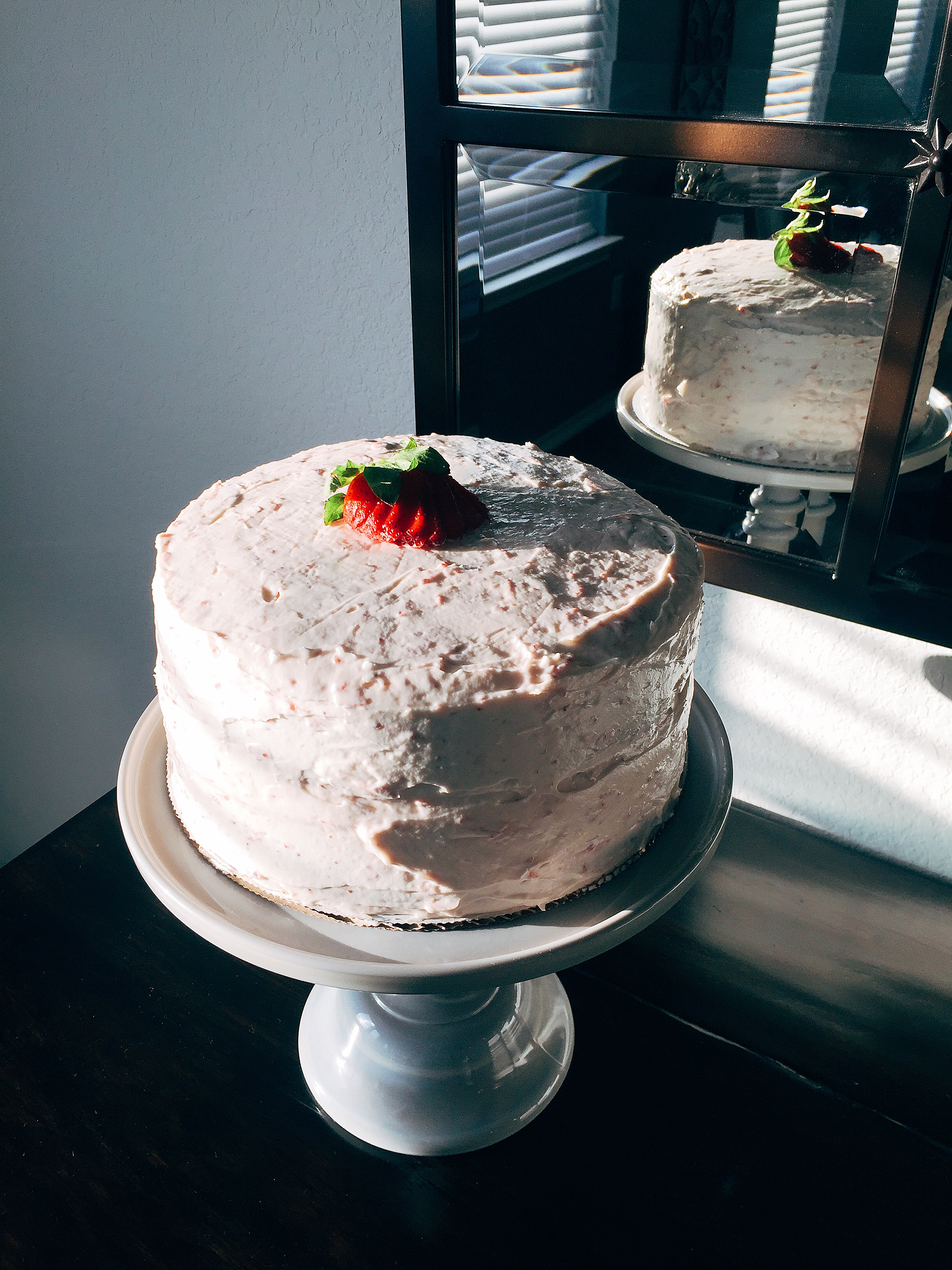 VANILLA CAKE with STRAWBERRY CREAM CHEESE FROSTING