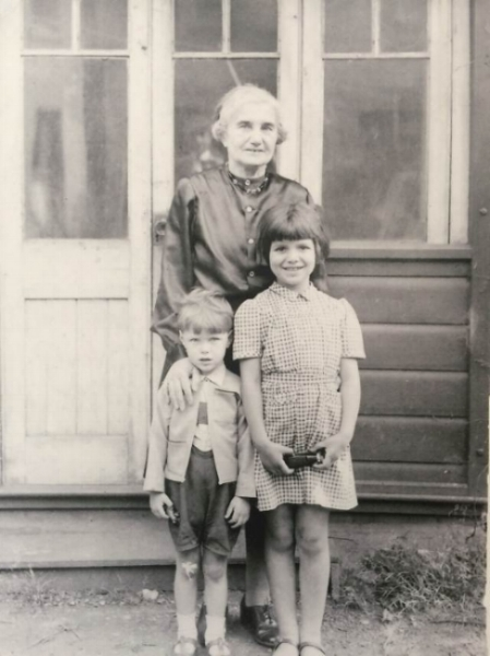 Tante Ella with my mum and uncle in the house they shared in Balham 1949.