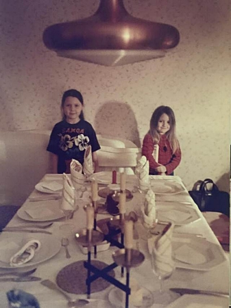 Laying the table at Granny's house with my little sister, 1984.