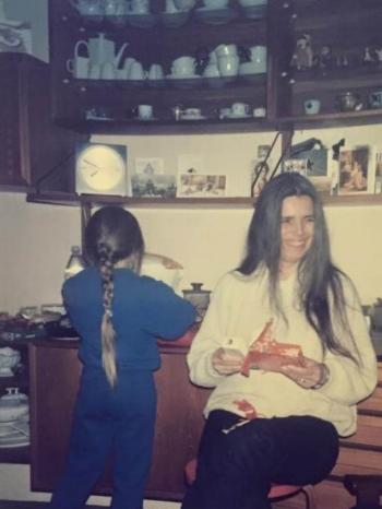 My mum and little sister in Granny's living room where she kept all her German porcelain.