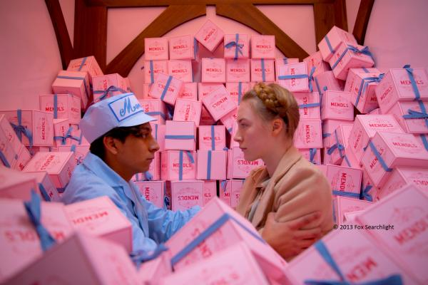 Mendl's boxes in their starring role in The Grand Budapest Hotel.