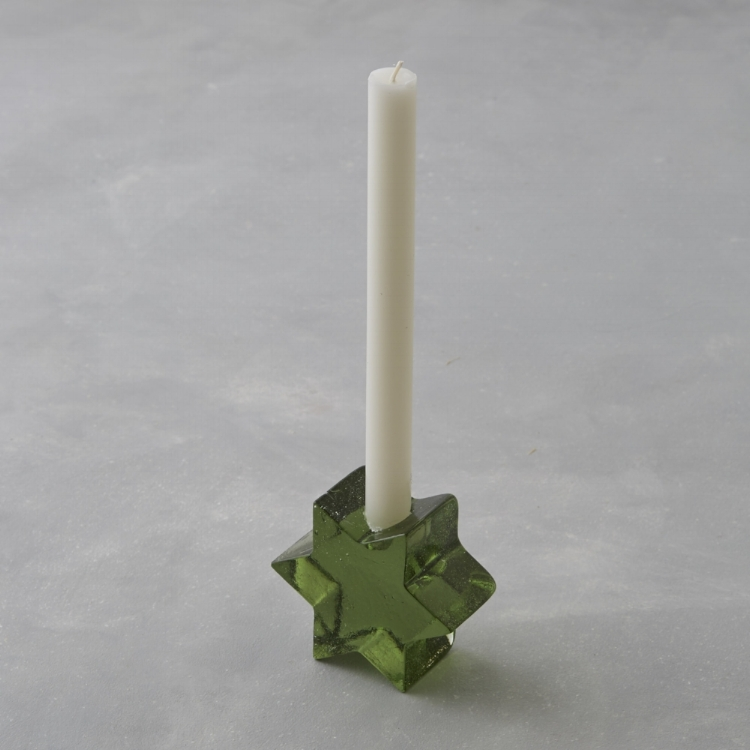 Handblown advent star candleholder. Made in Germany.