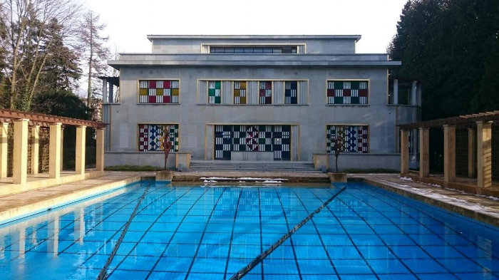 The pool and stained glass splendour of the Villa Empain