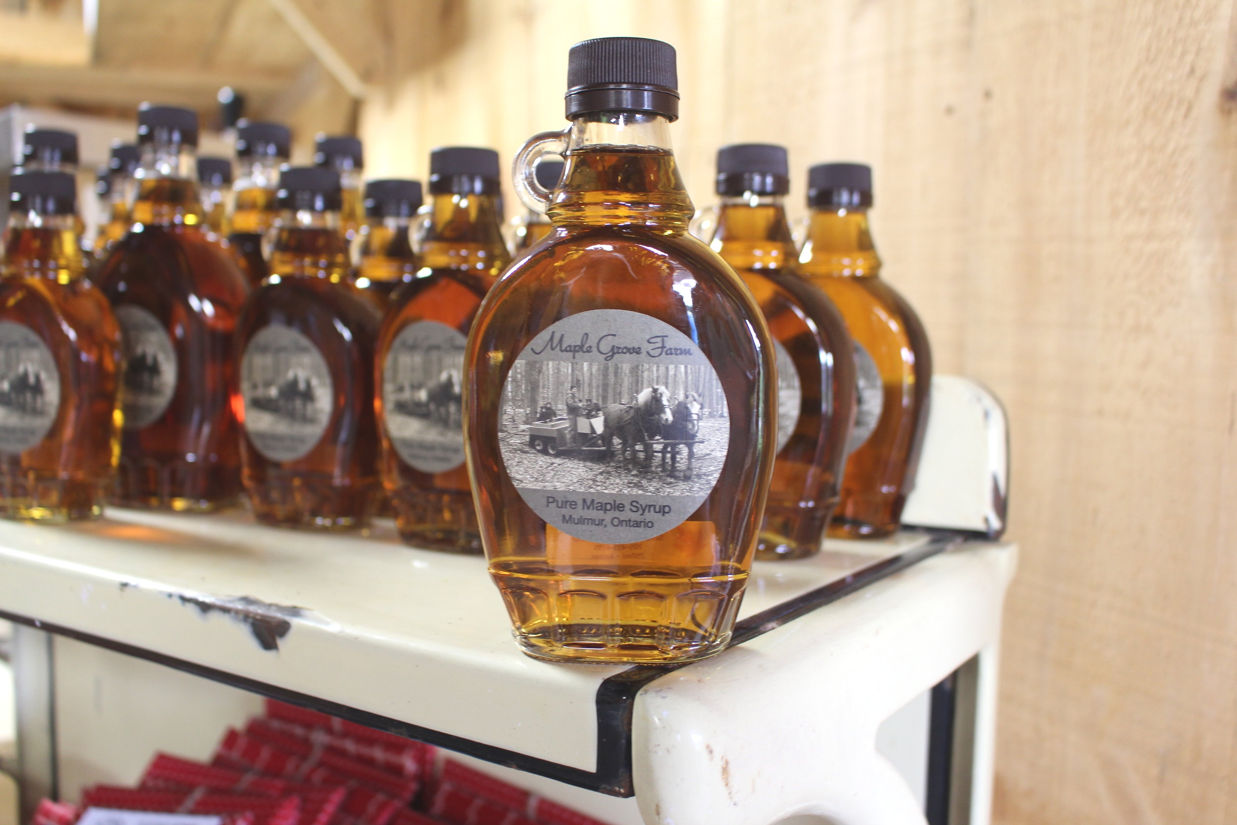 Maple Syrup  Delicious and sweet! From trees tapped by hand and sap collected by horse and buggy, our syrup is perfect for your pancakes.