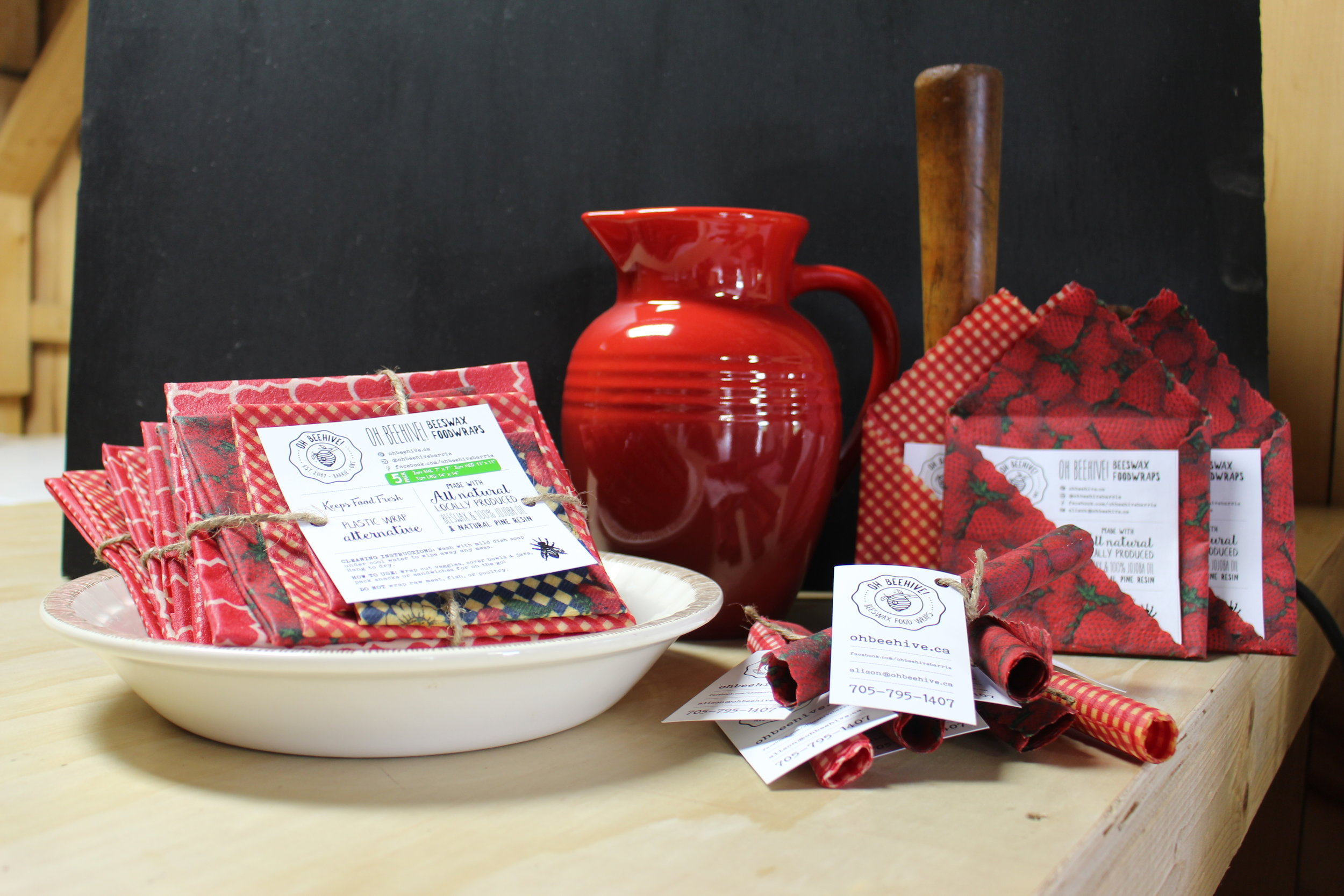 OH BEEHIVE! Beeswax Food Wraps   These strawberry-themed wraps are a plastic-wrap alternative and are made with all natural locally produced beeswax, jojoba oil and natural pine resin.