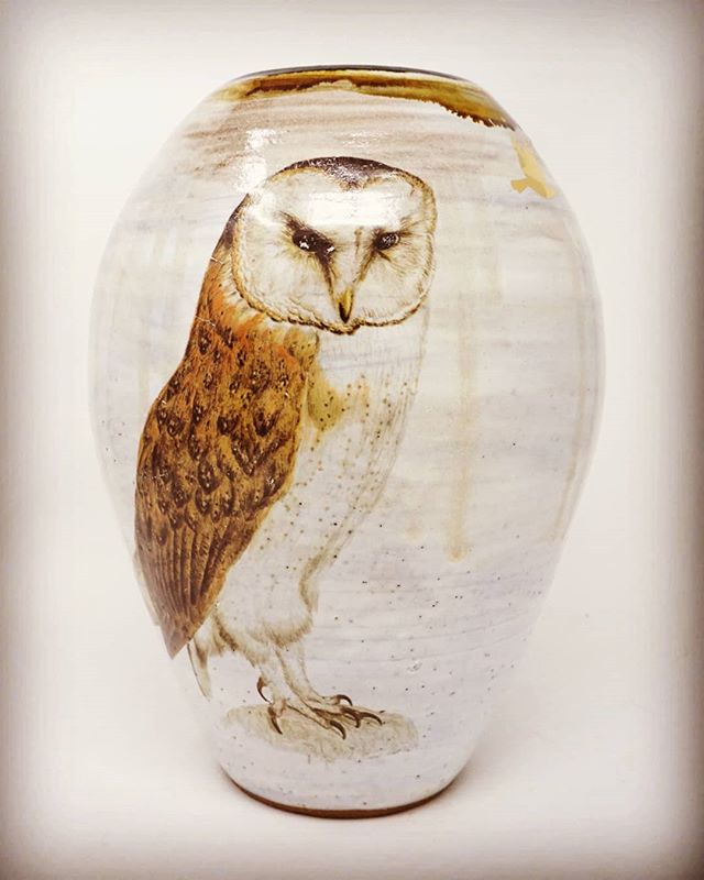 "Hello, October. I almost didn't recognize you in the 95 degree heat. You are the spookiest of months and I love you for it 🥰🌘 This lidded urn feels like an appropriate first post of the month. The owl is a beautiful decal I found... this urn is about 12"" tall, so this decal is really big. I have a few so you'll see this guy again on some larger vessels. 😊  #owlsofinstagram #pottersofinstagram #decals #hellooctober #urn #wheelthrown"