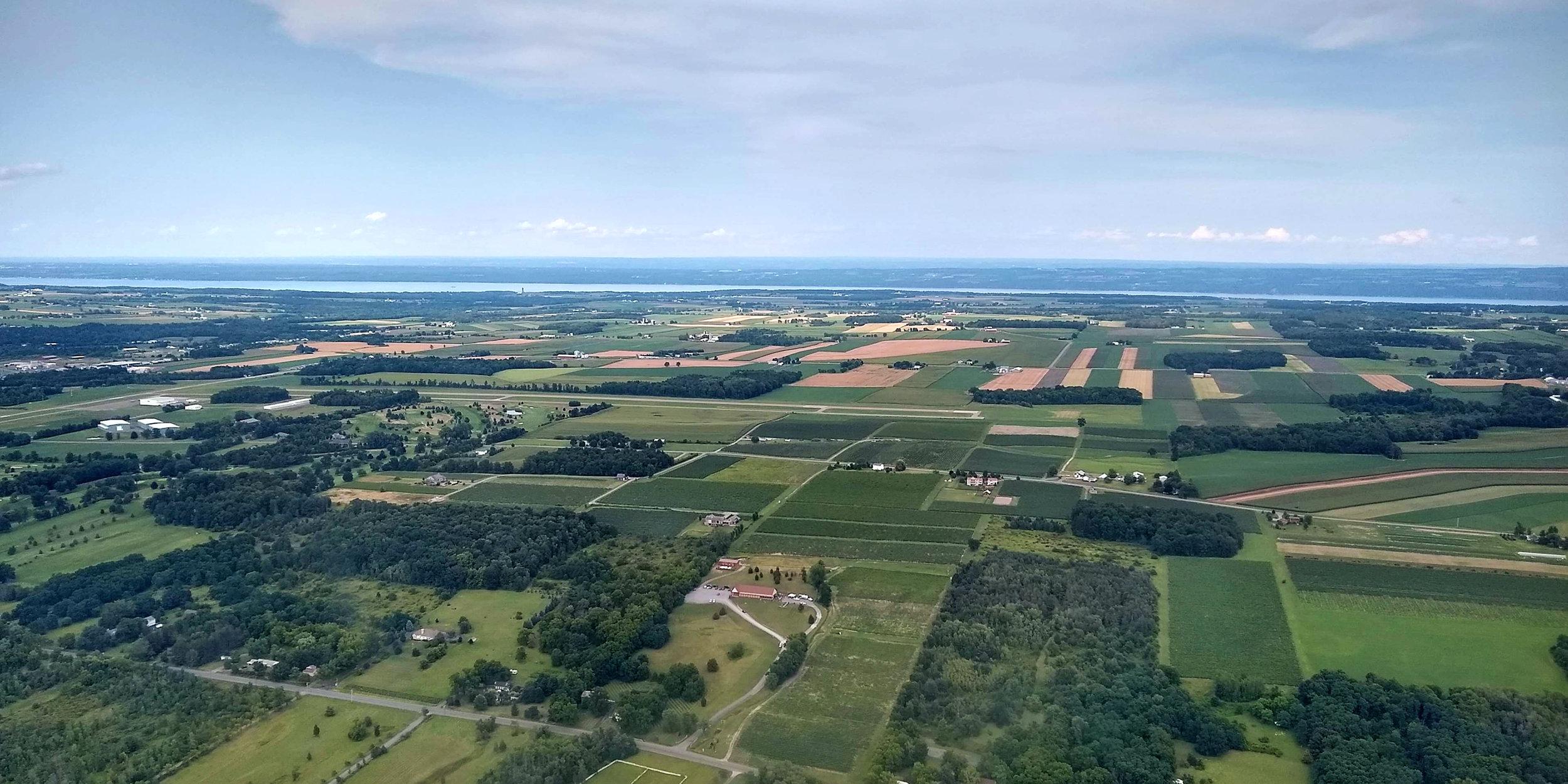 The view toward Seneca Lake from over Penn Yan, NY