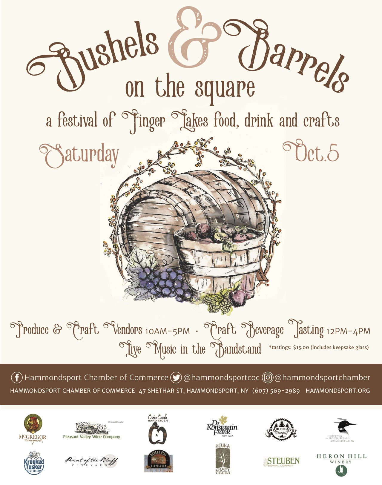 Bushels & Barrels on the Square is on Saturday, October 5th!