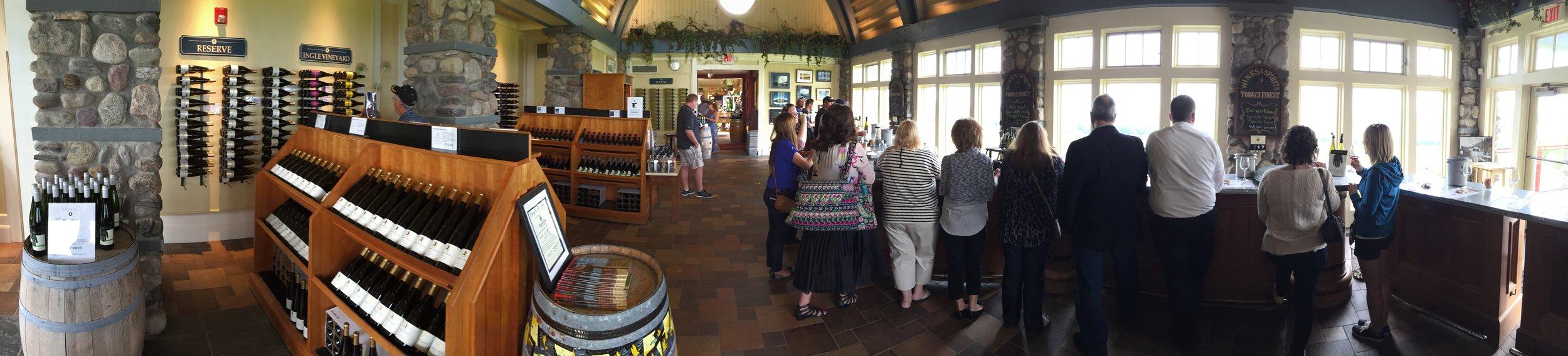 Panoramic view of Heron Hill Tasting Room.